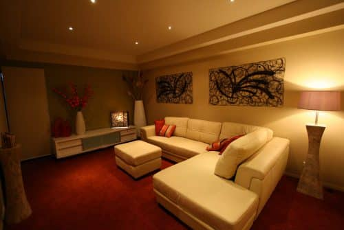dark - moody media room in Custom built home Hervey Bay - Steve Bagnall Homes