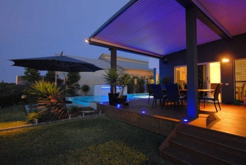 Deck at night - Custom home extension in Hervey Bay - Steve Bagnall Homes