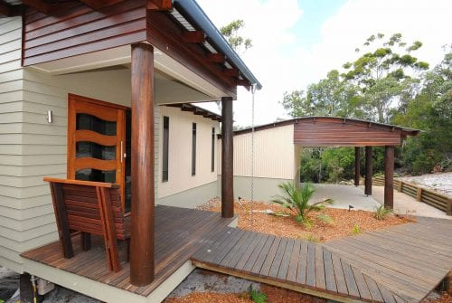 Wooden rustic outdoor entrance way - Custom-built home Hervey Bay